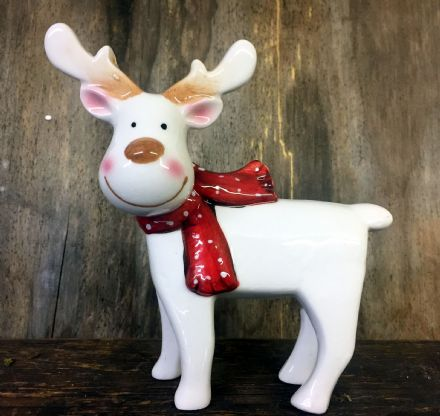 Cute White Reindeer Polished Glazed Ceramic Ornament with Red Bow 14.5 cm